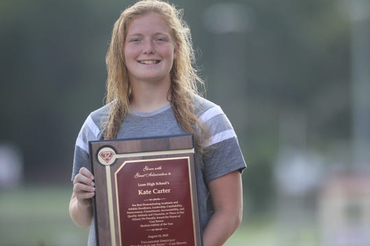 Recent Leon grad Kate Carter, now a freshman soccer player at Stetson, is one of two named as honorary recipients of the first Cam Brown Student-Athlete of the Year award. Carter was a volleyball and soccer star for the Lions, who stood overcame an ACL injury to create magical moments her senior year.