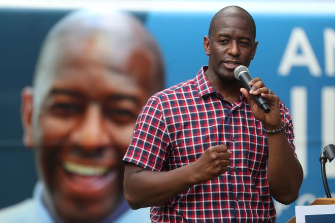 File art: Mayor Andrew Gillum speaks to supporters as he kicks off a statewide bus tour with a rally at Kleman Plaza on Aug. 20, 2018.