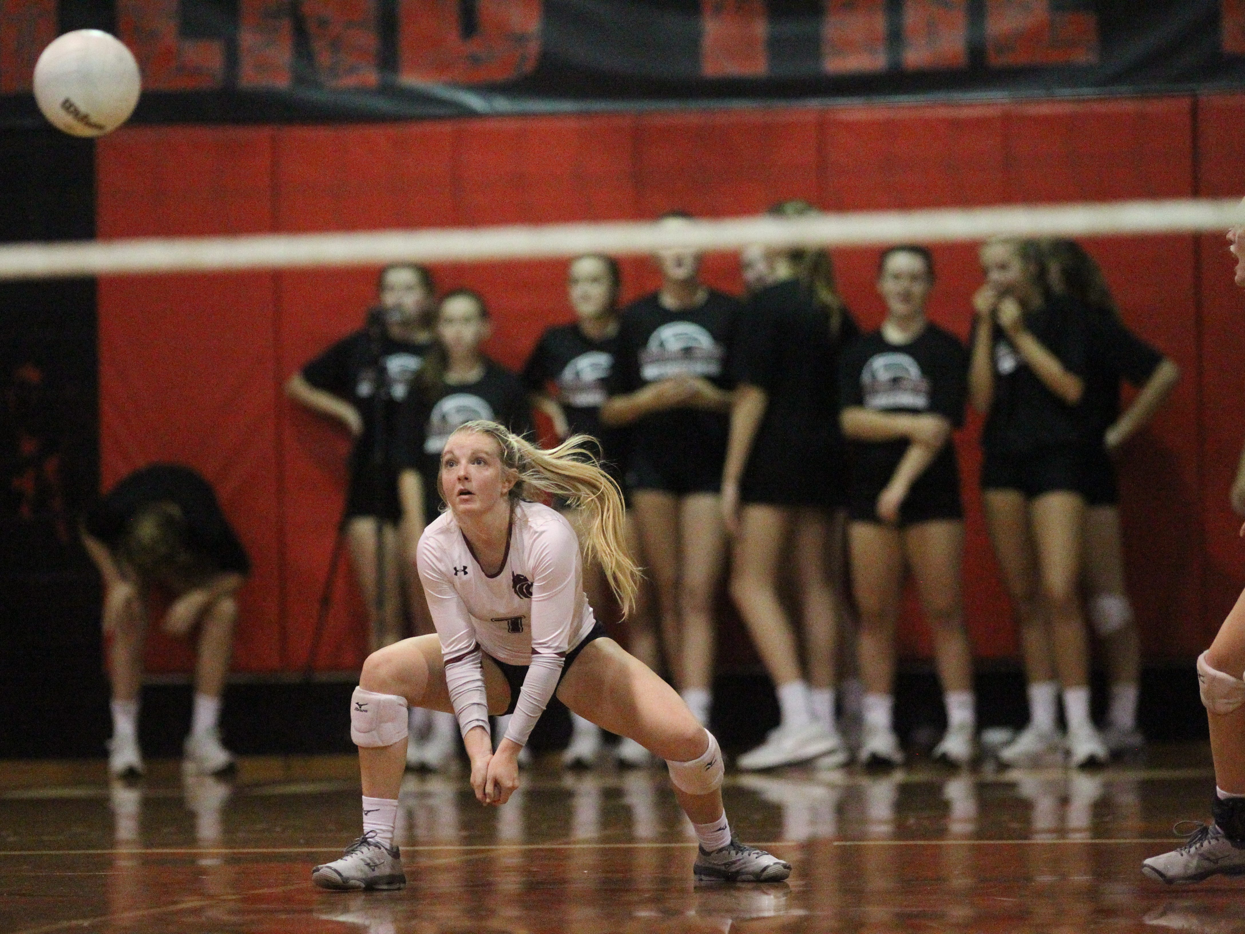 Chiles' Kiaya Clark prepares to receive serve as Leon beat Chiles 3-0 on Thursday night in a District 2-8A volleyball game.