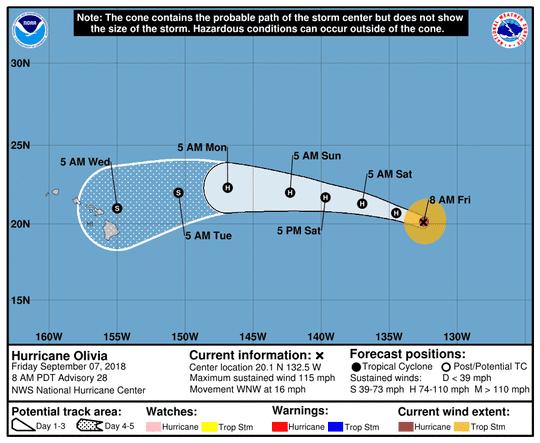 Hurricane Olivia 11 a.m. Sept. 7, 2018.
