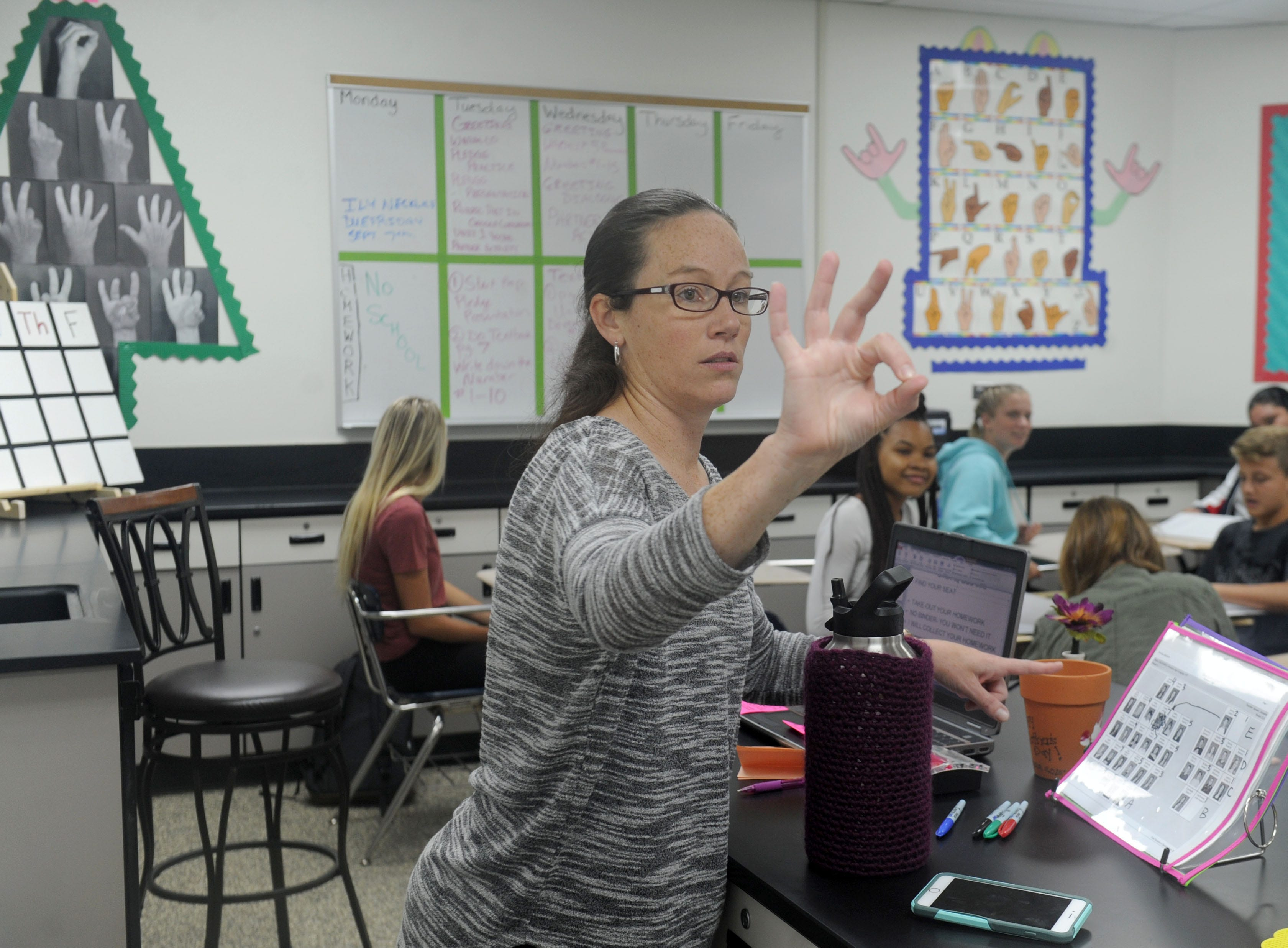 "Danielle Bowler, who teaches American Sign Language at Moorpark High School, welcomes her students. The school added the ASL classes this year at the request of students. ""I really listen to what the students want,"" Principal Carrie Pentis said."