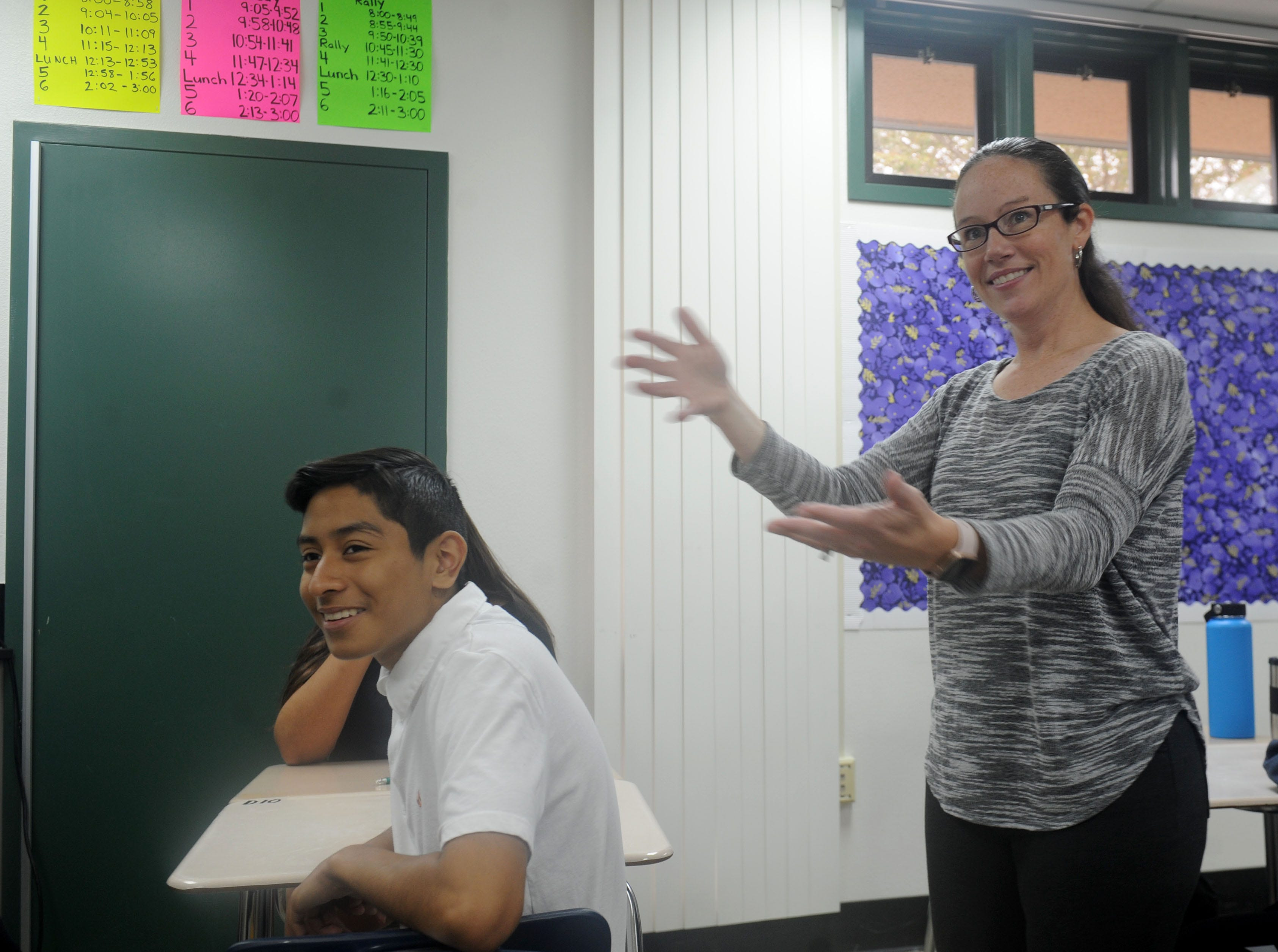 Freshman Francisco Soto plays words games with American Sign Language teacher Danielle Bowler. Moorpark High School is offering American Sign Language for the first time.