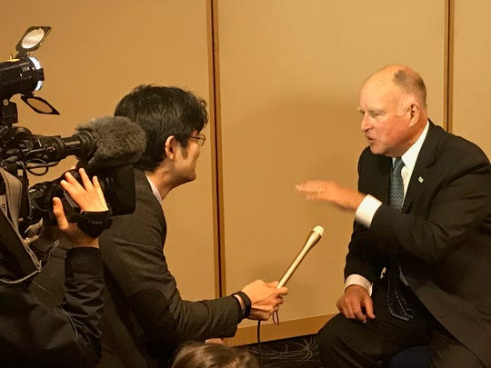 Gov. Jerry Brown is interviewed for Japanese TV at 2017 climate conference in Bonn, Germany.