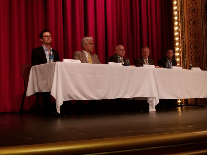 Moorpark City Council candidates, from left, David Ross, David Lopez-Lee, David Pollock, Daniel Groff and Chris Enegren participated in a forum Thursday.