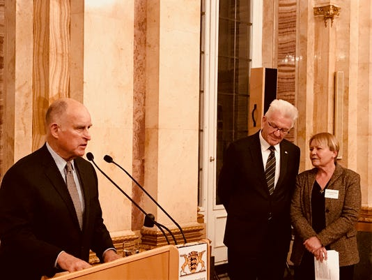 Gov Jerry Brown Speaks To European Officials On Climate Issues November 2017 Photo By Julie Cart Calmatters