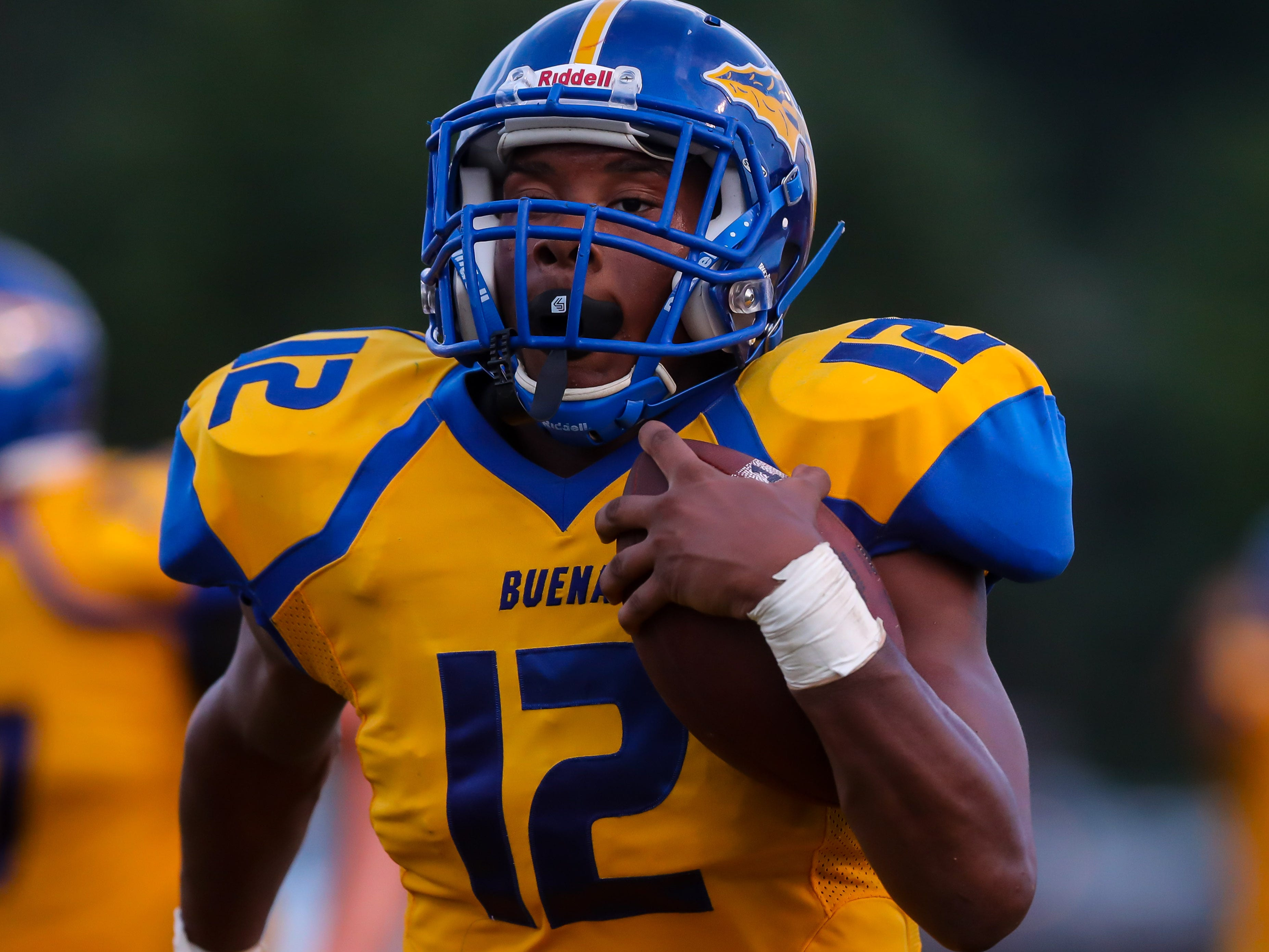 Shayron Smithbey of Buena runs for a 46 yard touchdown against Haddon Township, September 7, 2018.
