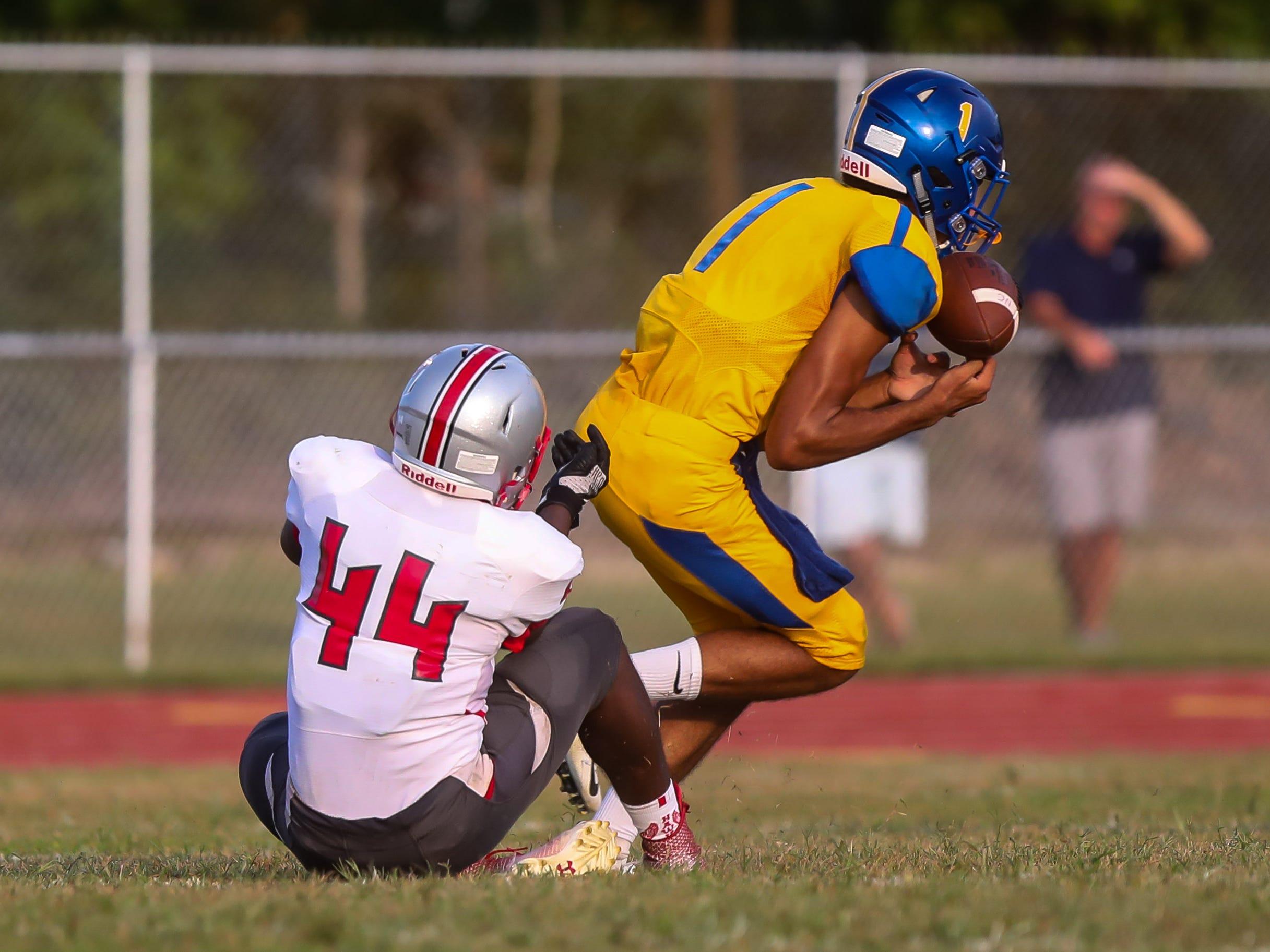 Chris Doughty of Buena intercepts the ball against Haddon Township. Buena, NJ. September 7, 2018