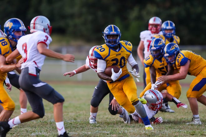 Byron Spellman of Buena runs for a 48 yard touchdown during the first quarter of Friday night's football game between Buena and Haddon Township played at  Buena High School,  September 7, 2018.