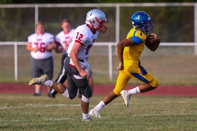 Chris Doughty of Buena runs for a 70 yard touchdown on the first play of the game against Haddon Township at Buena High School on September 7, 2018