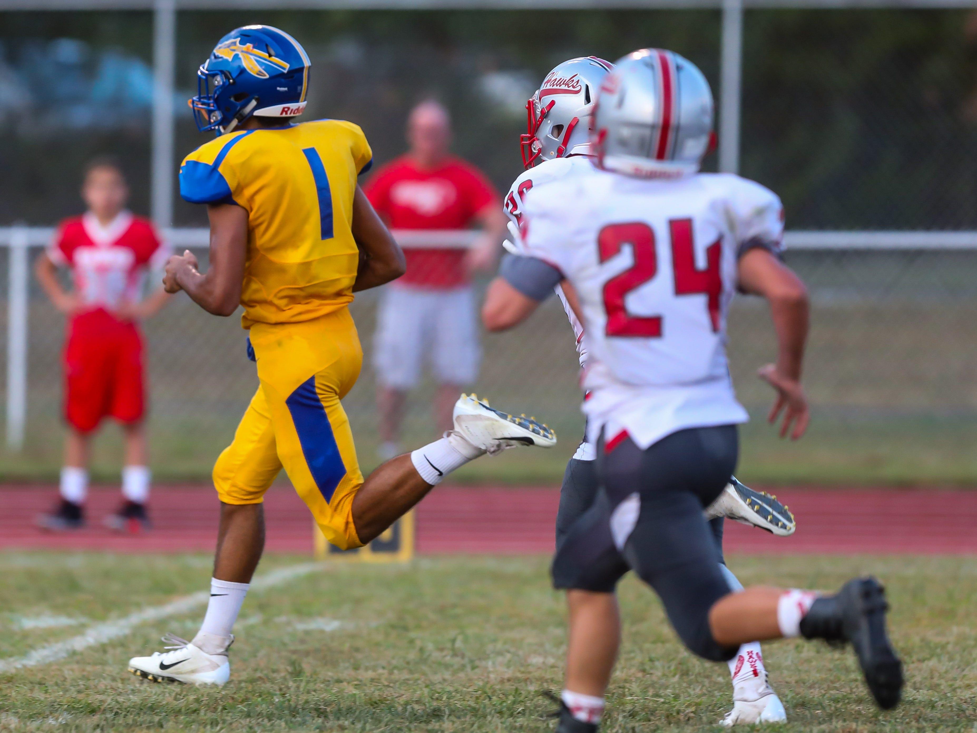 Buena's Chris Doughty runs for a 48 yard touchdown against Haddon Township at Buena High School, September 7, 2018.
