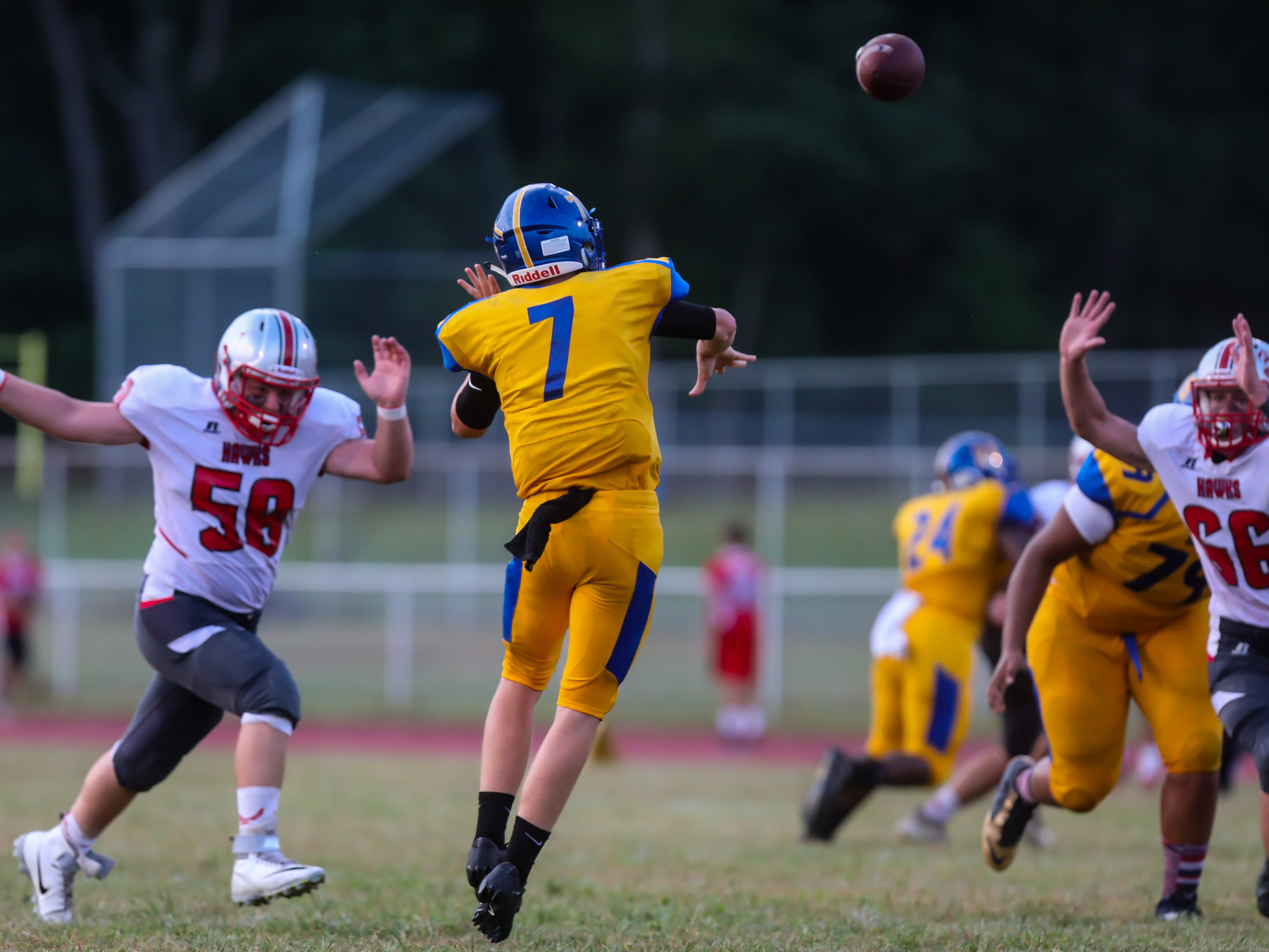Buena guarterback Kareem Young throws the ball against Haddon Township, September 7, 2018.