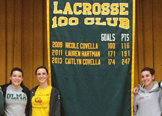(From left) Caitlyn Covella, Class of 2013, Lauren Hartman, Class of 2011, and Nicole Covella, Class of 2009, members of Our Lady of Mercy Academy's Lacrosse 100 goal club will be inducted into the academy's Hall of Fame in October.