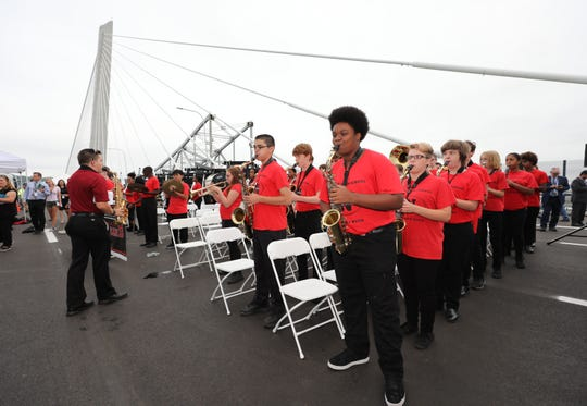 The Nyack High School band performs for the guests during the grand opening of the second span of the new Governor Mario M. Cuomo Bridge, Sept. 7, 2018.