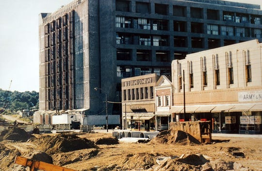 What is now the Verizon building under construction in 1972, when Main Street was closed to traffic to prepare for the demolition of the Westchester Cotton and Army& Navy stores, along with other small businesses. Today, The stretch includes the an Army & Navy store and other The phone company building is almost complete when Main Street was closed to vehicular traffic in 1972 as businesses, including an Army & Navy Store and Westchester Cotton Store get ready for demolition.