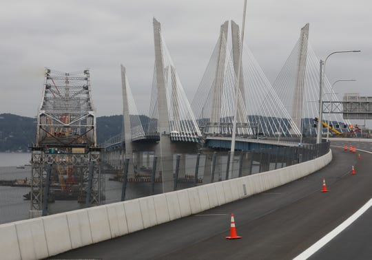 Workers continue to disassemble the old Tappan Zee Bridge, Sept. 7, 2018.