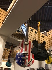 Guitars suspended from the ceiling at Alto Music in Airmont on Sept. 7, 2018.