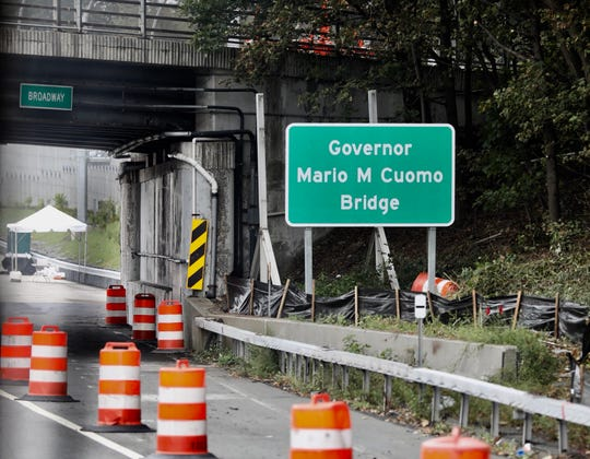The name of the Gov. Cuomo Bridge has already been changed as seen on a sign approaching the new bridge, Friday, Sept. 7, 2018.