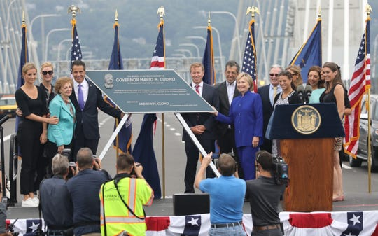 Governor Andrew Cuomo, his mother Matilda, Secretary Hillary Rodham Clinton and family pose for a photo after unveiling the plaque during the grand opening of the second span of the new Governor Mario M. Cuomo Bridge, Sept. 7, 2018.