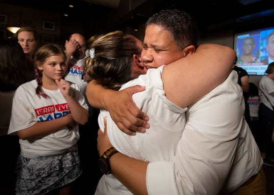 Democrat Kerri Evelyn Harris election results watch party at the Washington Street Ale House in Wilmington.