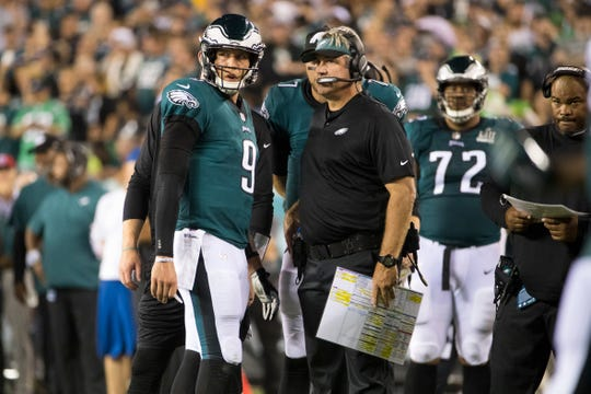 Nick Foles, shown during a preseason game last August, took over at quarterback when Carson Wentz tore two knee ligaments last December.