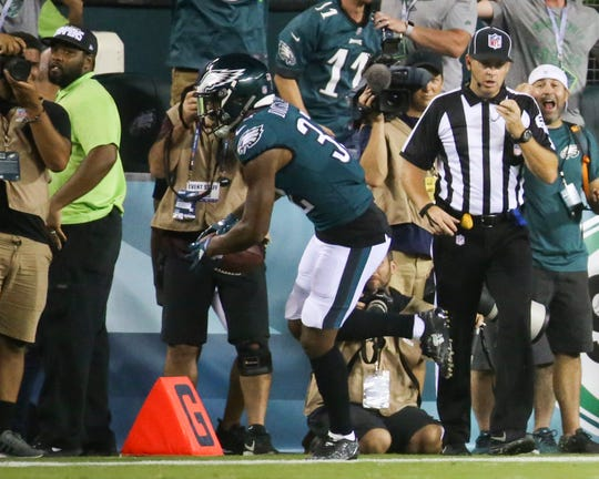 Eagles corner Rasul Douglas snags an interception in Philadelphia's 18-12 win in the NFL season-opener at Lincoln Financial Field.