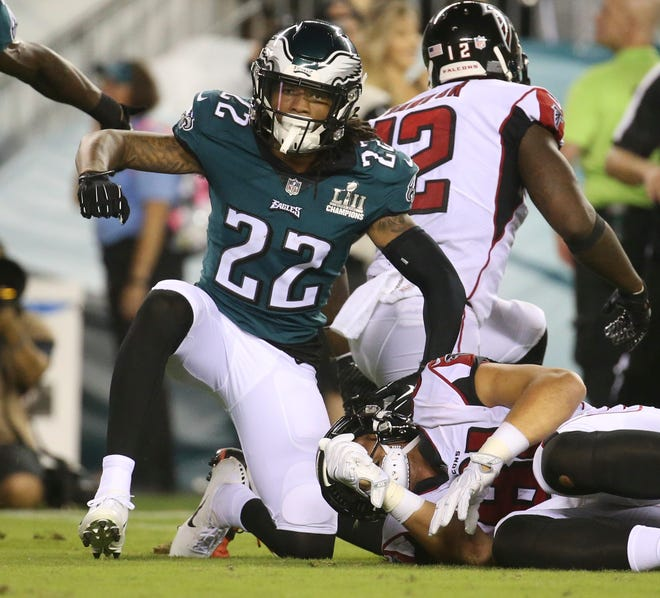 Eagles corner Sidney Jones celebrates a stop the fourth quarter of Philadelphia's 18-12 win in the NFL season-opener in Thursday Night Football at Lincoln Financial Field.