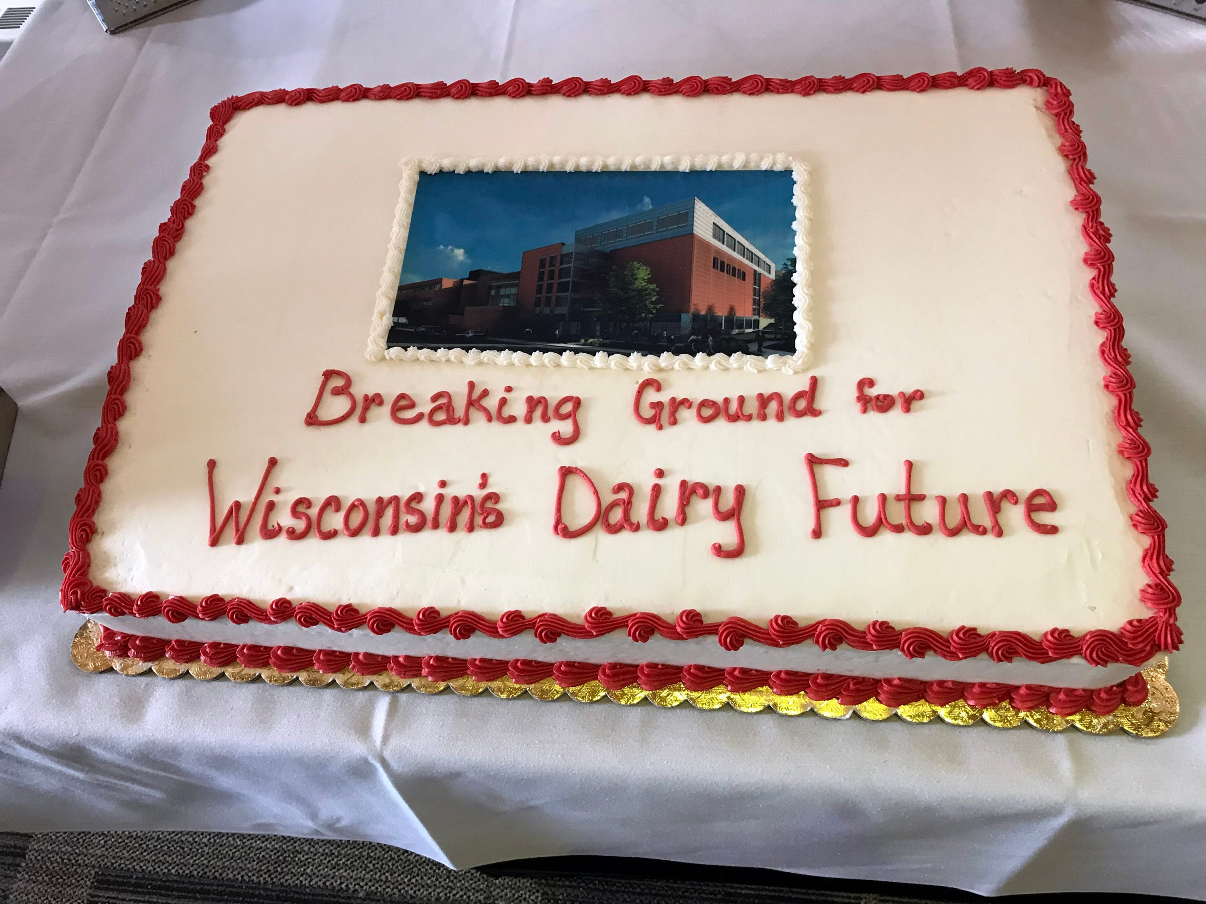 Cake was served during a celebration event to mark the launch of a construction and renovation project for UW-Madison's Babcock Hall Dairy Plant and Center for Dairy Research in the Lake Mendota Room of Dejope Hall on Sept. 7.