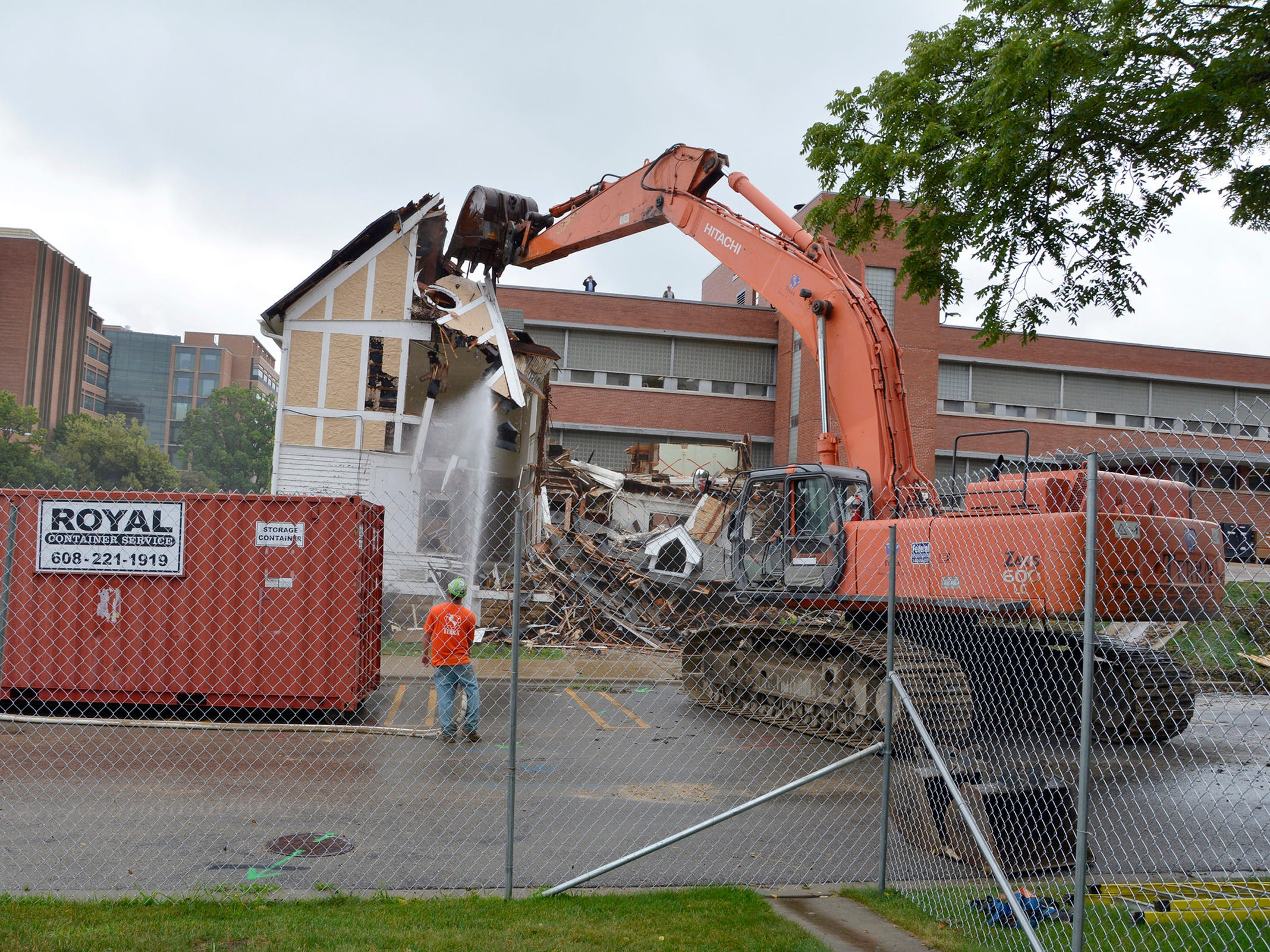 Babcock Hall renovation/expansion project, showing the demolition of Science House, on the UW-Madison campus in Madison, Wis., in early August, 2018.