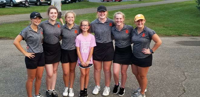 "The Ridgewood girls golf team set a school record with a 177 in a tri-meet on Wednesday. They include, from left, Lexi Zimmer, Hallie Reed, Sydney Matis, Jacey ""Penny"" Hess (team manager), Sadie Wilson, Ally Dotson and Brianna Brady."