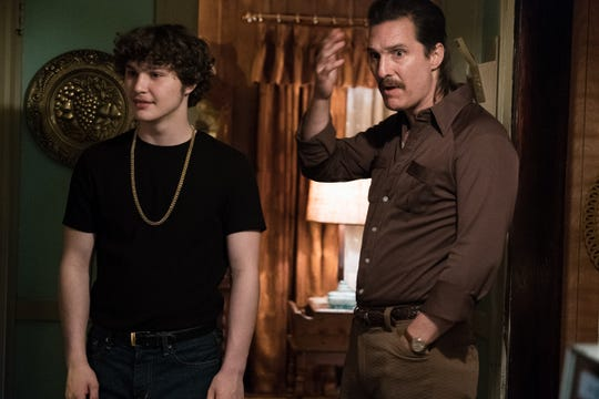 "Richie Merritt, left, did not know his co-star before ""White Boy Rick."" The actor's name was Matthew McConaughey (R)."