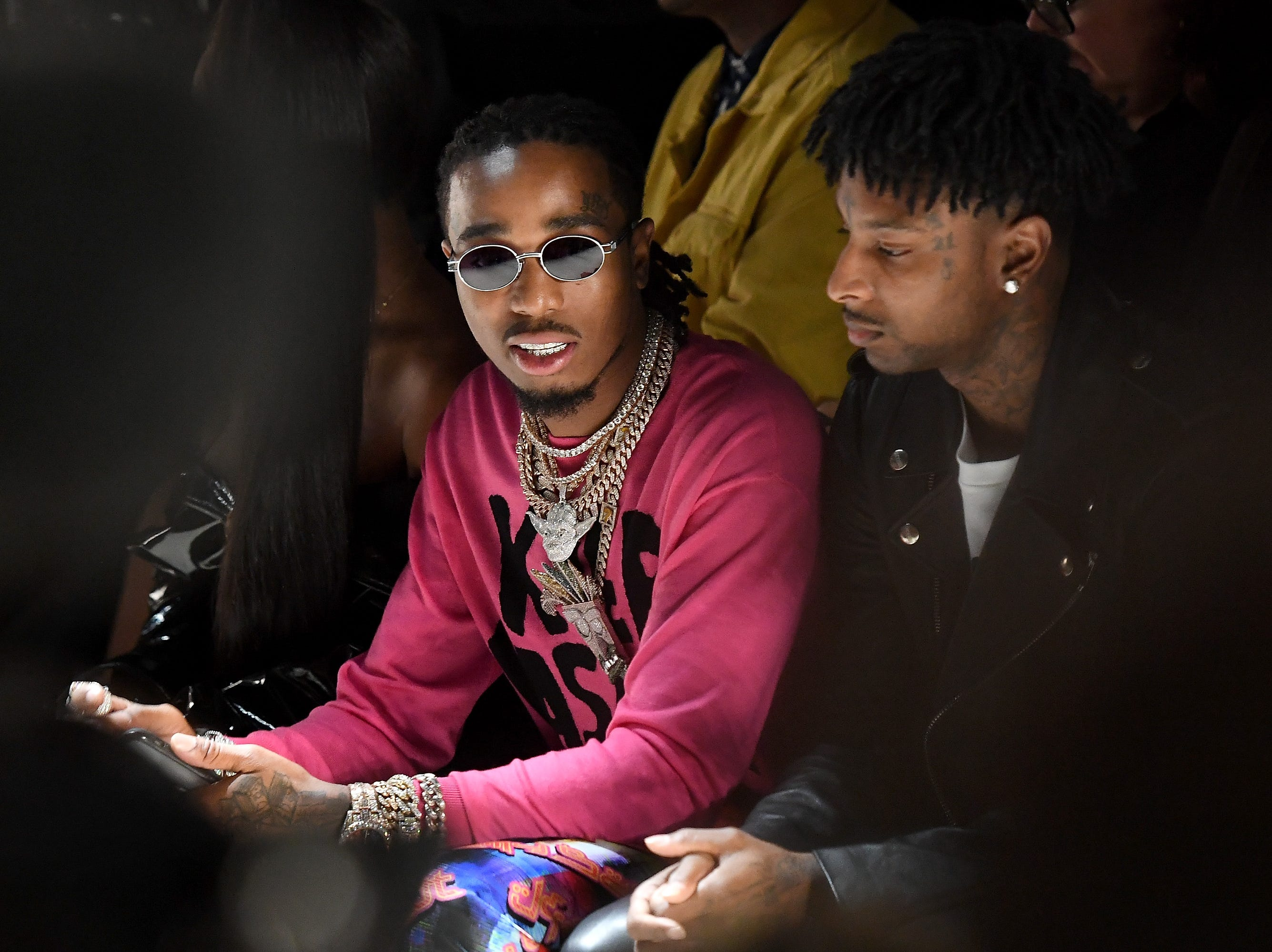 NEW YORK, NY - SEPTEMBER 06:  Quavo attends the Jeremy Scott front row during New York Fashion Week: The Shows at Gallery I at Spring Studios on September 6, 2018 in New York City.  (Photo by Nicholas Hunt/Getty Images for NYFW: The Shows) ORG XMIT: 775215639 ORIG FILE ID: 1028019882