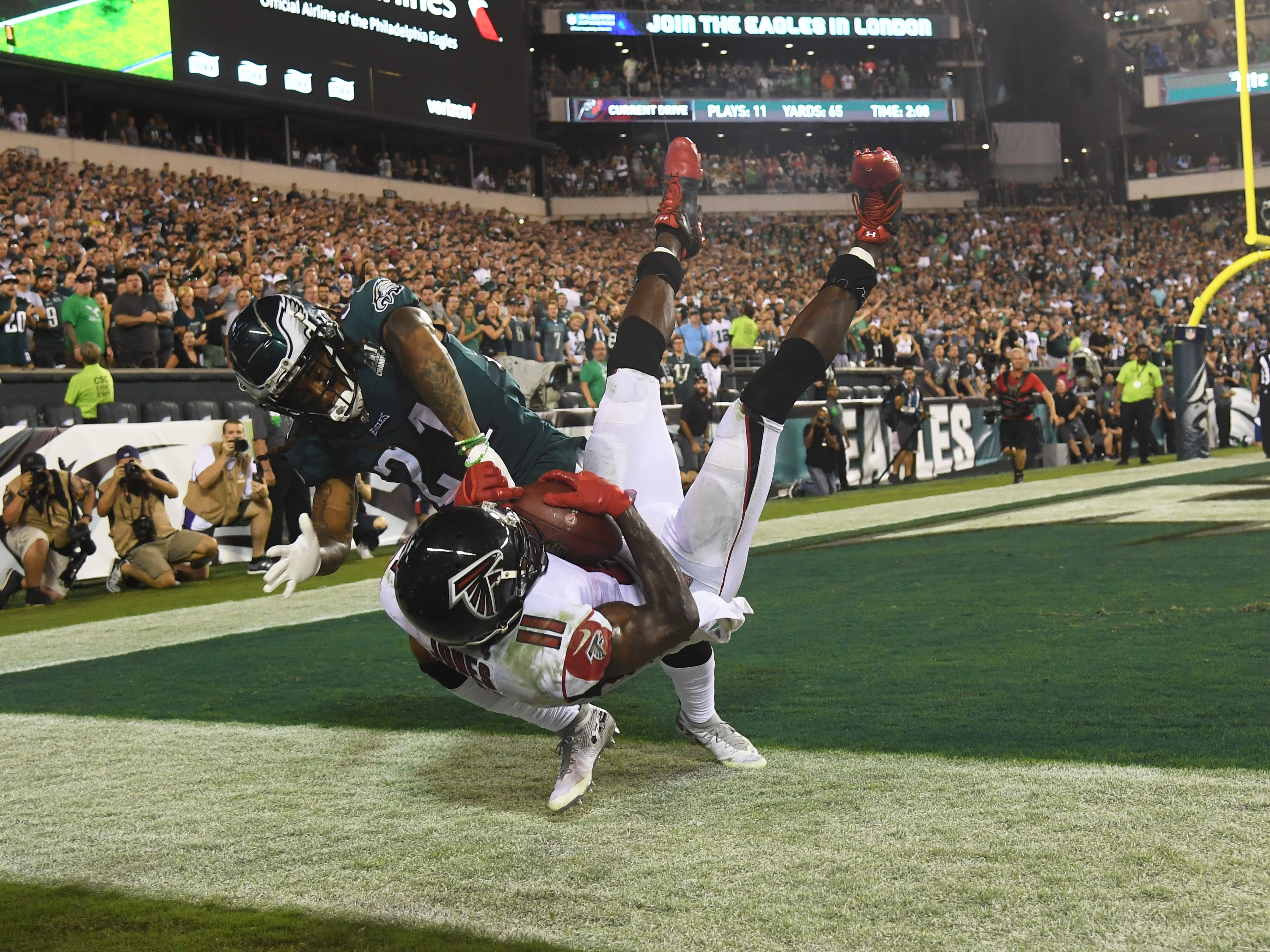Philadelphia Eagles cornerback Ronald Darby pushes Atlanta Falcons wide receiver Julio Jones out of bounds on the final play of the Eagles' 18-12 win at Lincoln Financial Field.