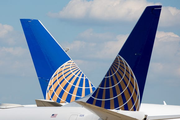 This file photo from June 29, 2018, shows United Airlines' tails at Washington Dulles International Airport.