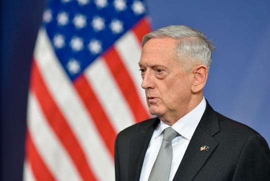 In this file photo taken on November 9, 2017 US Defense Minister James Mattis delivers a press conference during the second day of a defense ministers meeting at NATO headquarters in Brussels.