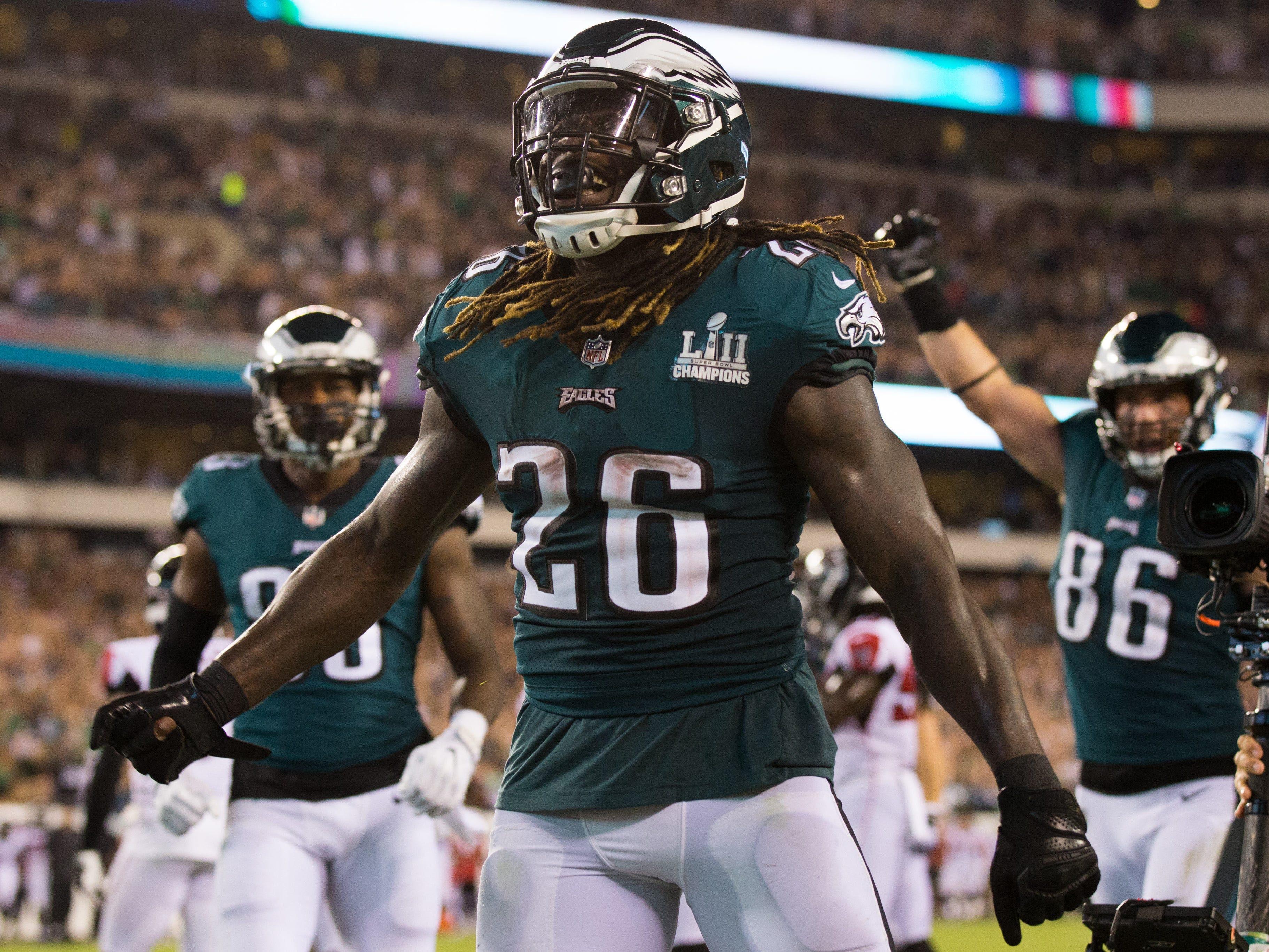 Philadelphia Eagles running back Jay Ajayi reacts to his touchdown against the Atlanta Falcons during the third quarter at Lincoln Financial Field.