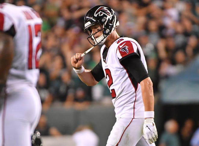 Matt Ryan reacts after failing to score late in the fourth.