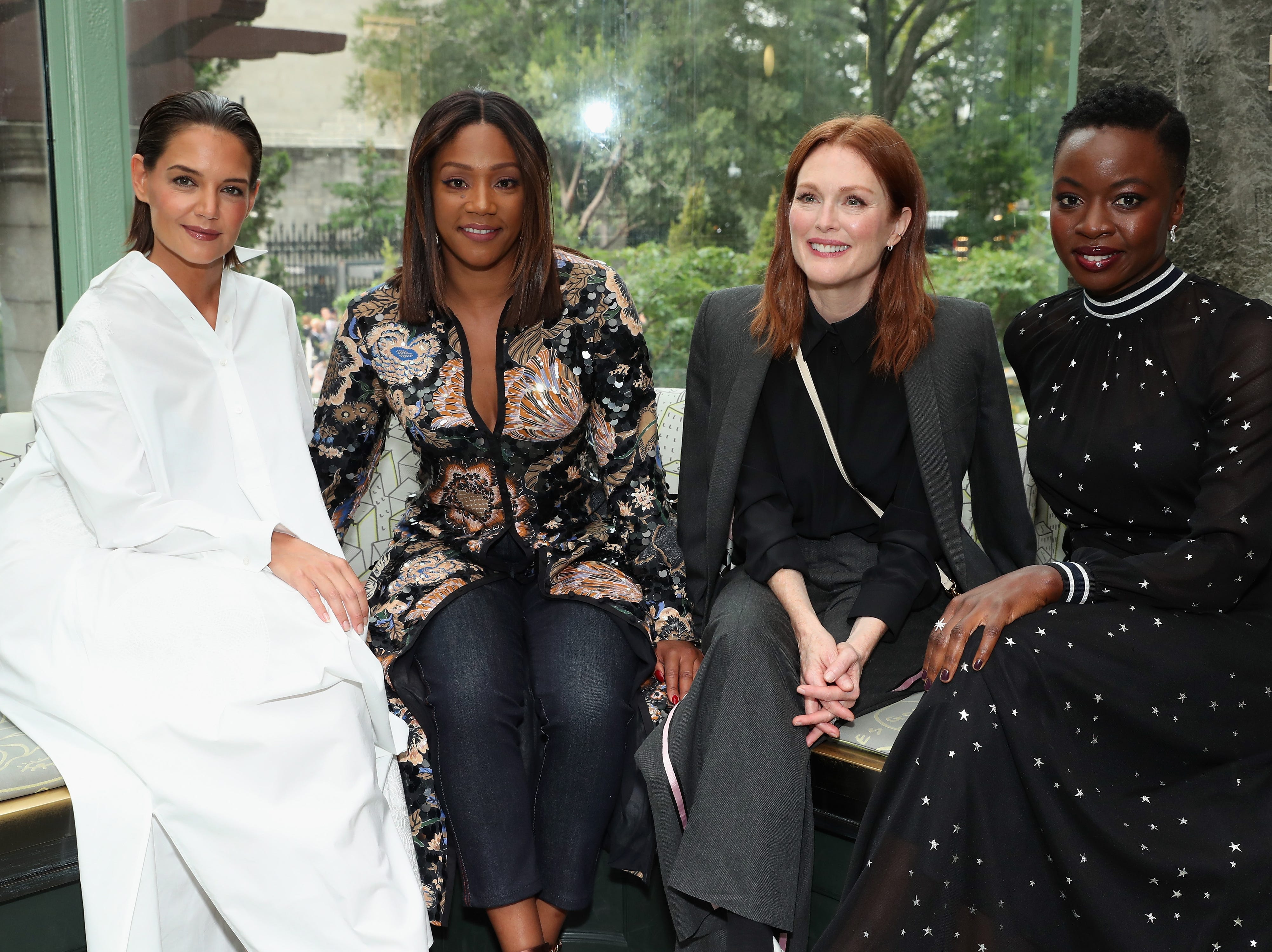 NEW YORK, NY - SEPTEMBER 07:  (L-R) Actors Katie Holmes, Tiffany Haddish, Julianne Moore and Danai Gurira pose backstage during the Tory Burch Spring Summer 2019 Fashion Show at Cooper Hewitt, Smithsonian Design Museum on September 7, 2018 in New York City.  (Photo by Cindy Ord/Getty Images for Tory Burch) ORG XMIT: 775216253 ORIG FILE ID: 1028544220