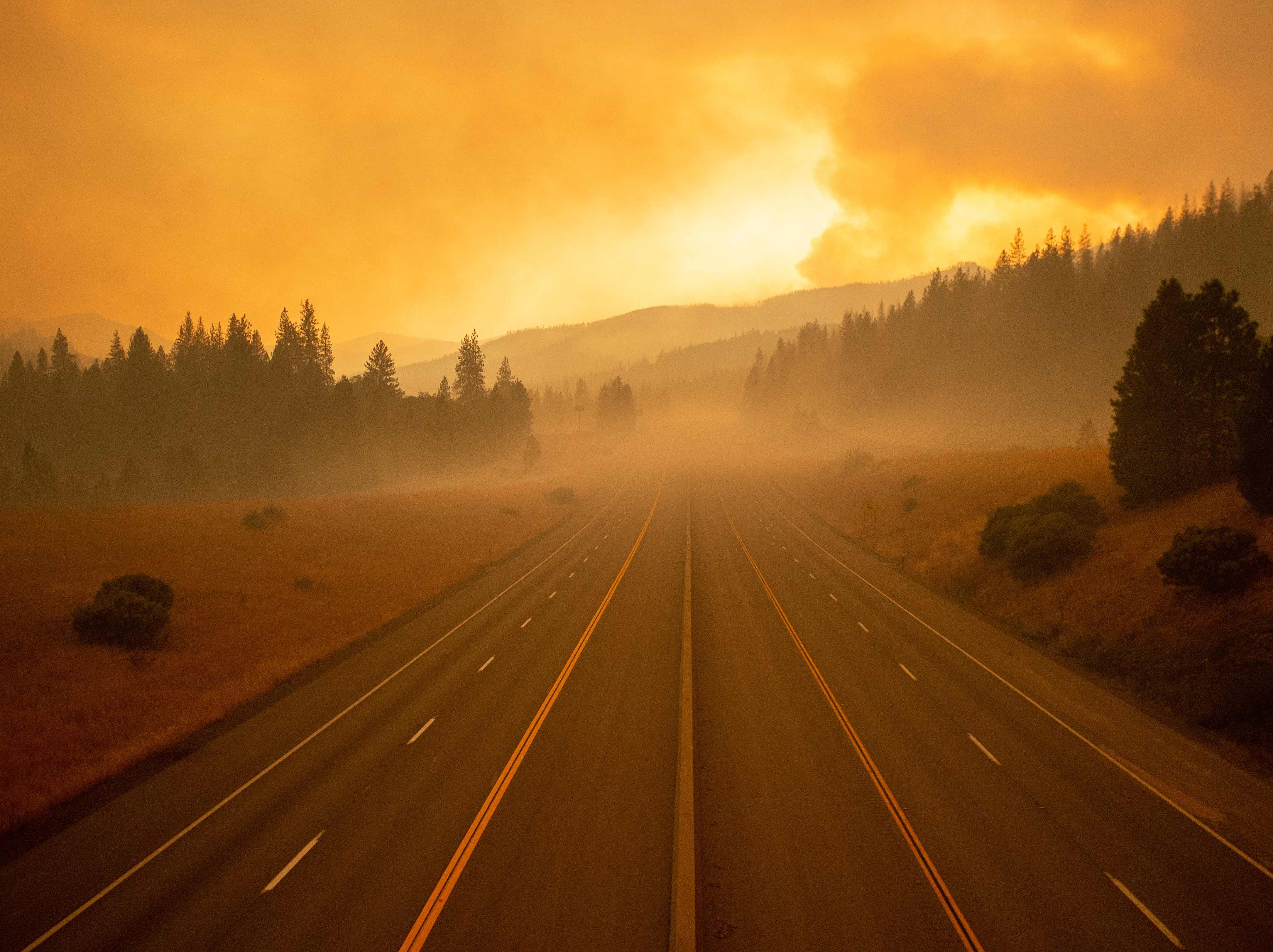 Interstate 5, which has been closed due to the Delta Fire, is seen completely empty in Lamoine, California, in the Shasta Trinity National Forest, on September 6, 2018.
