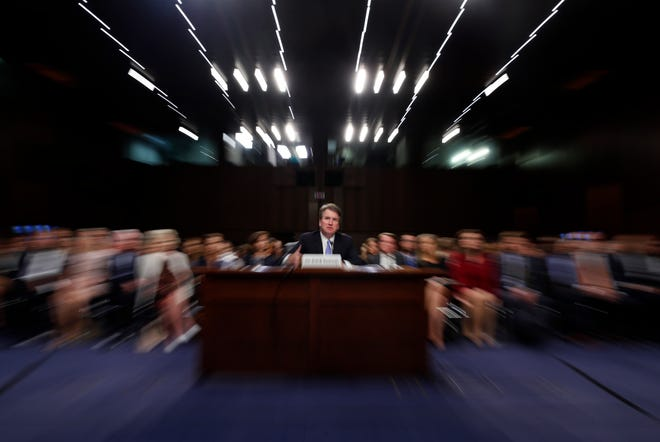 Judge Brett Kavanaugh testifies before the Senate Judiciary Committee on Sept. 6, 2018.