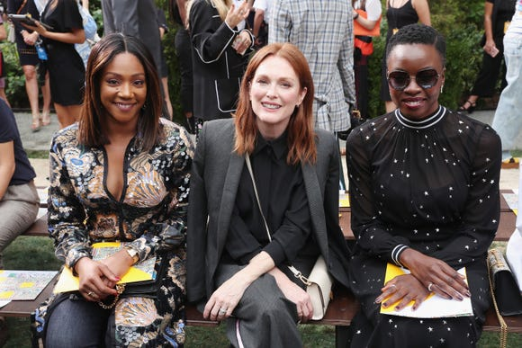 Tiffany Haddish, Julianne Moore and Danai Gurira front row at Tory Burch.