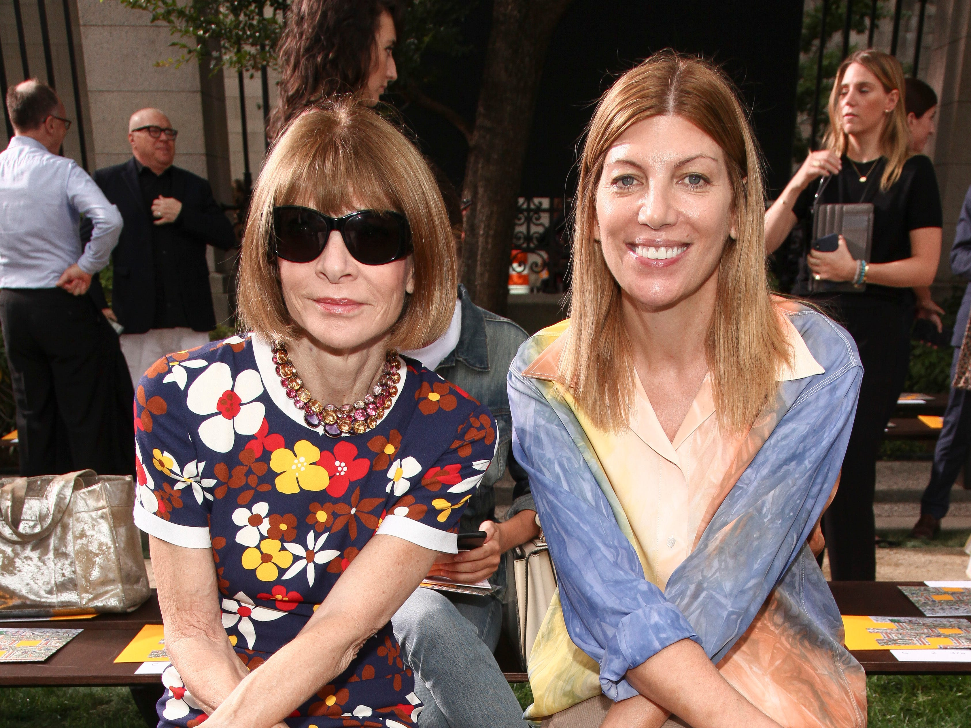 Anna Wintour, left, and Virginia Smith attend the NYFW Spring/Summer 2019 Tory Burch fashion show at the Cooper Hewitt Smithsonian Design Museum on Friday, Sept. 7, 2018, in New York. (Photo by Andy Kropa/Invision/AP) ORG XMIT: NYAK105