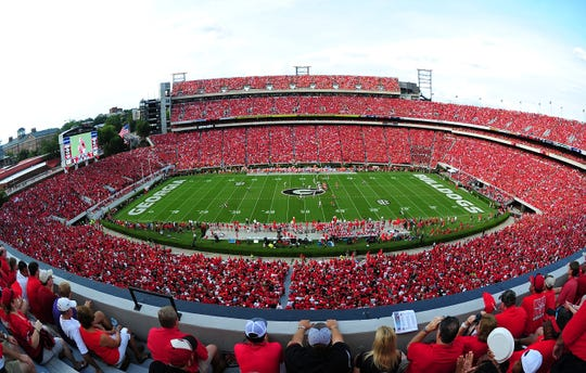A general view of Sanford Stadium during the game between the Georgia Bulldogs and the Clemson Tigers on August 30, 2014 in Athens, Georgia.
