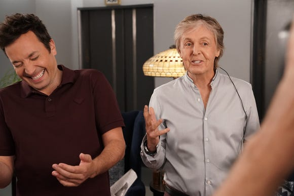 Jimmy Fallon, left, with Paul McCartney