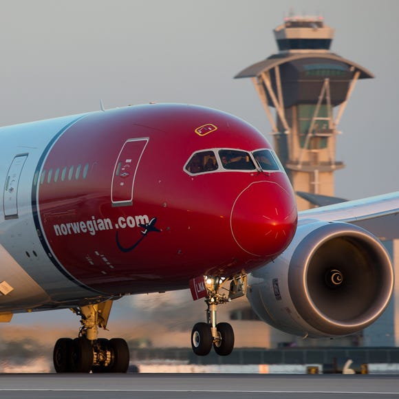 A Norwegian Air Boeing 787 Dreamliner takes off from Los Angeles International Airport on Sept. 23, 2017.