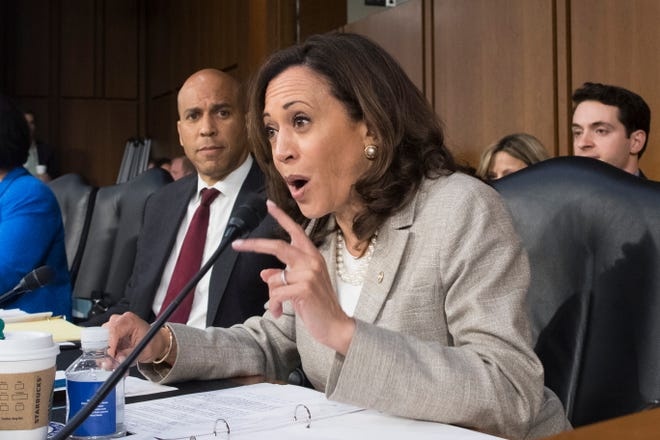 Sen. Kamala Harris, D-California, a former prosecutor, had some of the sharpest questions for Supreme Court nominee Brett Kavanaugh at his Senate Judiciary Committee hearing.