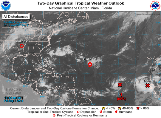 "Florence is one of three storms that are spinning in the Atlantic on Friday. The two red ""x""s in the eastern Atlantic should be named Helene and Isaac."