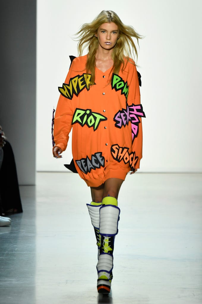 NEW YORK, NY - SEPTEMBER 06: A model walks the runway for Jeremy Scott during New York Fashion Week: The Shows at Gallery I at Spring Studios on September 6, 2018 in New York City. (Photo by Frazer Harrison/Getty Images for NYFW: The Shows) ORG XMIT: 775215641 ORIG FILE ID: 1028018556