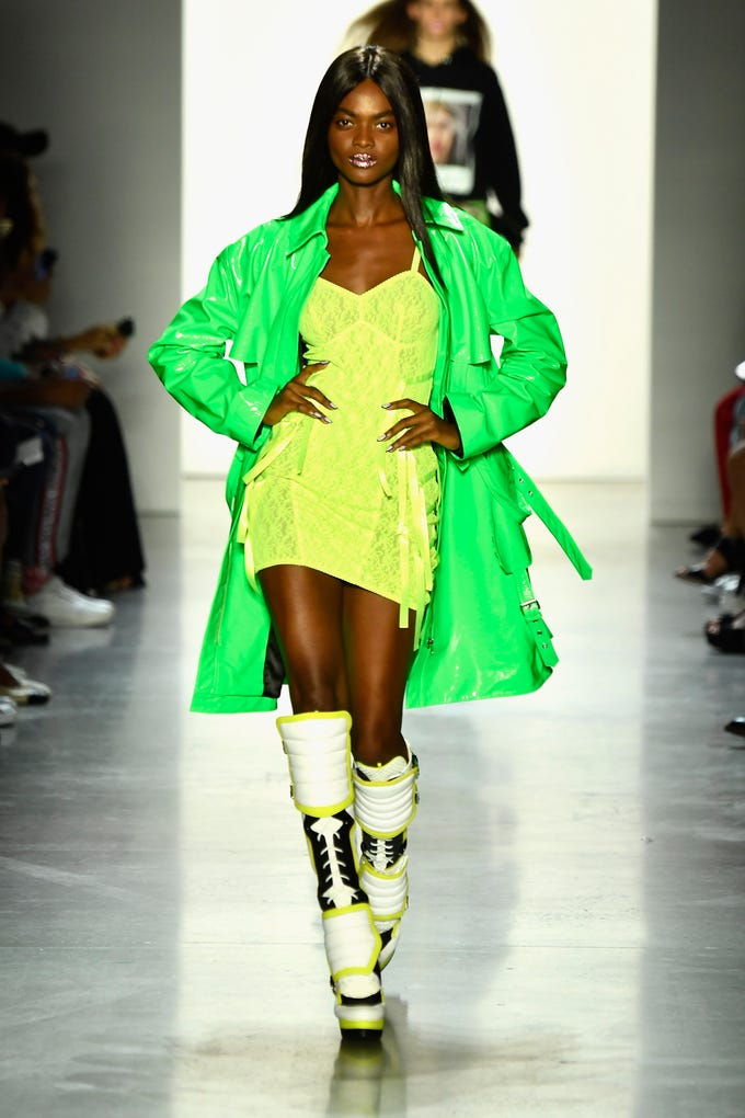 NEW YORK, NY - SEPTEMBER 06: A model walks the runway for Jeremy Scott during New York Fashion Week: The Shows at Gallery I at Spring Studios on September 6, 2018 in New York City. (Photo by Frazer Harrison/Getty Images for NYFW: The Shows) ORG XMIT: 775215641 ORIG FILE ID: 1028018860