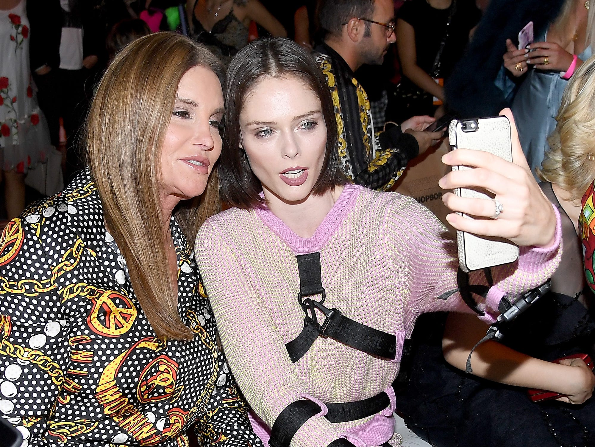NEW YORK, NY - SEPTEMBER 06:  Caitlyn Jenner and Coco Rocha attend the Jeremy Scott front row during New York Fashion Week: The Shows at Gallery I at Spring Studios on September 6, 2018 in New York City.  (Photo by Nicholas Hunt/Getty Images for NYFW: The Shows) ORG XMIT: 775215639 ORIG FILE ID: 1028020212