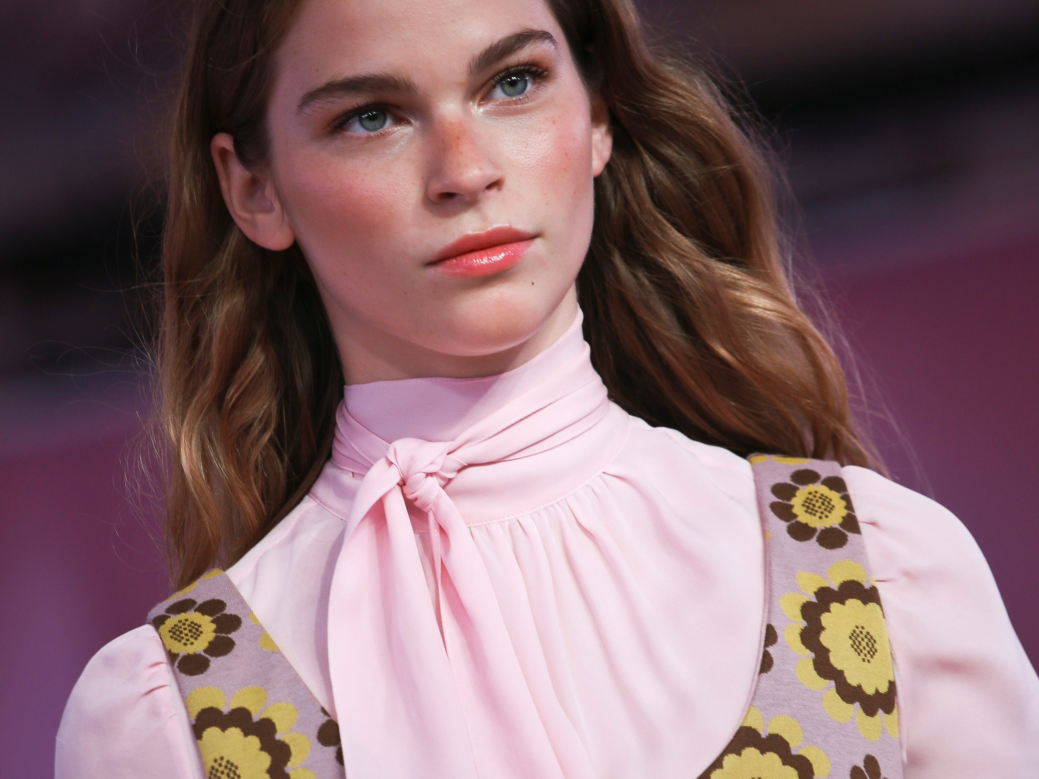 Fashion from the Kate Spade collection is modeled during Fashion Week, Friday Sept. 7, 2018 in New York. (AP Photo/Bebeto Matthews) ORG XMIT: NYBM108